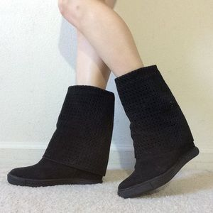 Gogo Black Suede Leather Wedge Boots